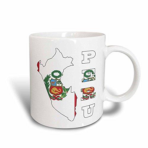 3dRose Peruanische Flagge in Umrisskarte und Buchstaben von Peru Magic, 325 ml (Cup Küche Kunst 11)