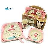 FunBlast (Set of 5 Pcs) Bamboo Fiber Eco-Friendly Kids Feeding Set (Flamingo)