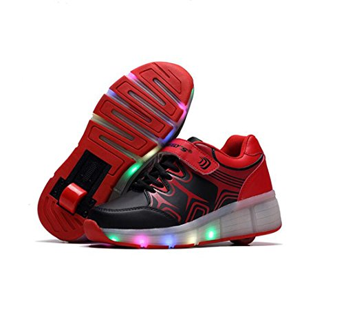 Heelys - Scarpe per bambini con ruote 7 colore LED Light Up Leather Shoes Luminous Cuir Sneakers per ragazze per uomo donna, Nero (nero), 31