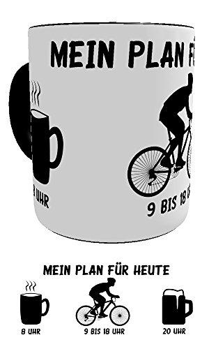 Kinderlampenland KaffeeTasse Mein Plan für Heute lustige Sprüchetasse Geburtstagsgeschenk Hobby Motiv Radfahrer Geschenk-Verpackung (Mountainbiker) -