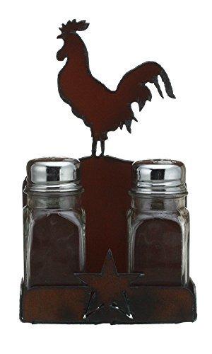 Rustic Ironwerks Salt and Pepper Shaker Set and Holder- Rooster - 4.5 By 7.5 By 2 by Rustic Ironwerks