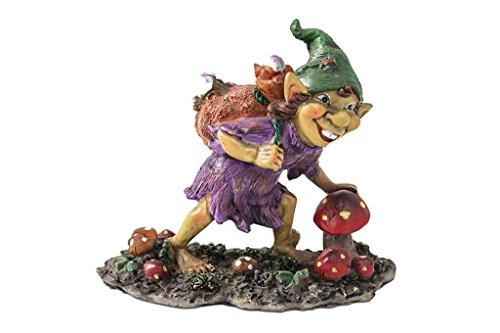 Statuette lutin Pixie avec sac sur les épaules et champignons H cm 11 Finition résine colorée