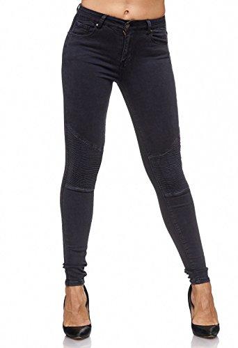 Damen Jeans Biker Panel Knie Stretch Hüfthose Effekt Nähte D2081, Farben:Anthrazit, Größe Hosen:42 (Knie Naht Jeans Hose)