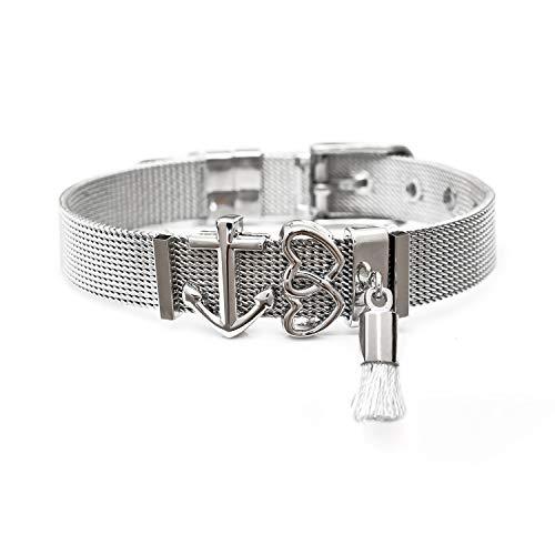THIORA® - Mesh Armband für Frauen | Individuelle Anhänger Charms | Edelstahl veredelt | Größenverstellbar | Damen Charmband Bracelet ('Ibiza' - Silber Set)