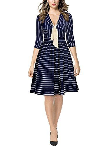 MIUSOL Business Tiefer V-Ausschnitt Schal 3/4 Arm Streifen A-Linie Damen Abendkleid Navy Blau L