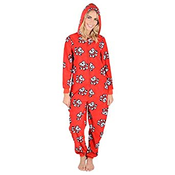damen fleece einteiler pyjama schlafanzug onesie pj nachtw sche bekleidung. Black Bedroom Furniture Sets. Home Design Ideas