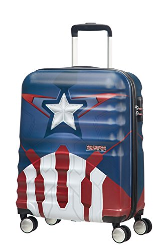American Tourister Disney Wavebreaker Marvel - Maleta, Cuatro Ruedas, Multicolor (Captain America Close-Up), S (55cm-36L)