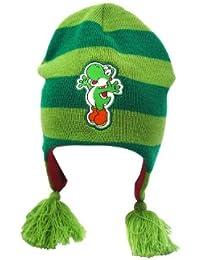Super Mario Yoshi Nintendo Mütze mit Yoshi Aufnäher Bommeln Innenfutter lizenziert