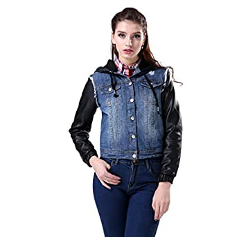 Jean jacket with leather sleeves women