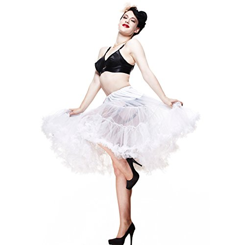 da donna nuovo 25 - 27-inch Hell coniglietto a punta sera Vintage 50s Petticoat Bianco