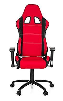 hjh OFFICE 729320 silla gaming GAME FORCE tejido negro / rojo silla de oficina reclinable silla escritorio