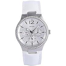 Guess W11586L3 - Reloj analógico de cuarzo para mujer con correa de piel, color blanco