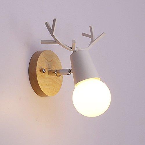 Einfach Nachttischlampen Modern Wandlampe in elchgeweihform Innen Wandleuchte 1 Flammig Schlafzimmer Lampe Wand Beleuchtung für Wohnzimmer Küche Flur Kinderzimmer Kind Leuchte Max 40W (Weiß, C)