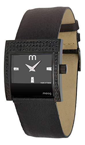 Moog Paris Champs Elysées Montre Femme avec Cadran Noir, Eléments Swarovski, Bracelet Noir en Cuir Véritable - M44792-008