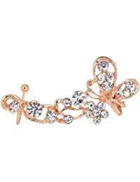 Window Shop Butterfly Shape With Crystals IN Gold Plated Ear Cuff Wrap Clip Earring For Smart Look