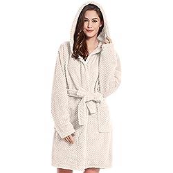 DecoKing Peignoir XXXL Court Femme Homme Unisexe à Capuchon Robe de Chambre Micro-Fibre Douillette Moelleuse Polaire Beige Sleepyhead