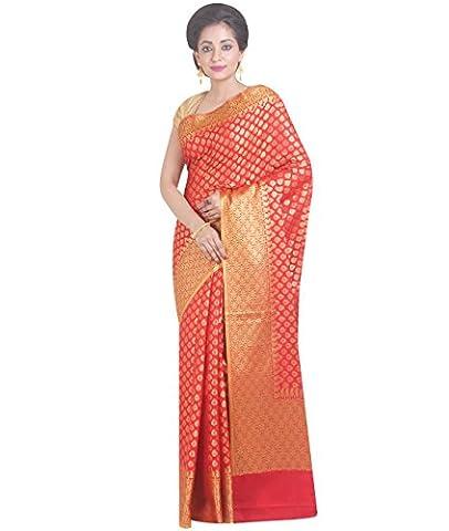 Indian Ethnic Pure Banarasi Silk Red Fancy
