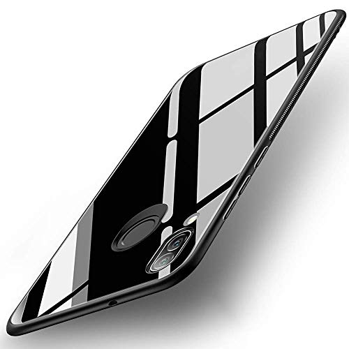 SPAZY CASE® Luxurious Toughened Glass Back Case with Shockproof TPU Bumper Back Case Cover for Realme 3 Pro (Black)