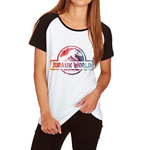 Jurassic Park Clever Mädchen Velociraptor Raglan T-Shirt Frauen Graphic Tee (Farbe : White, Größe : L) - Frauen Raglan Tee