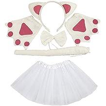 Lovelegis Set Costume da Gatta Gattina Bianca - per Bambina - tutù -  Cerchietto - Guanti 4c5ca900012