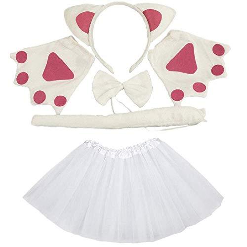 Lovelegis Set Kostüm Katze Weiße Katze - für Mädchen - Tutu - Stirnband - Handschuhe - Fliege - Schwanz - Verkleidung Zubehör Karneval Halloween Cosplay - Farbe Weiß