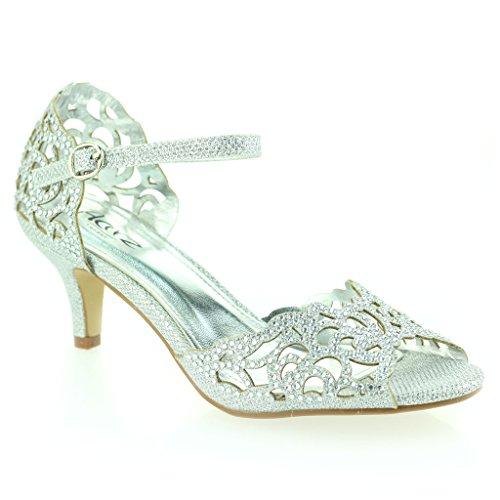 Aarz Frauen-Dame-Abend-Party-beiläufige Prom niedrige Ferse-Sandelholz-Schuh-Größe (Gold, Silber, Champagner, Schwarz) Silber