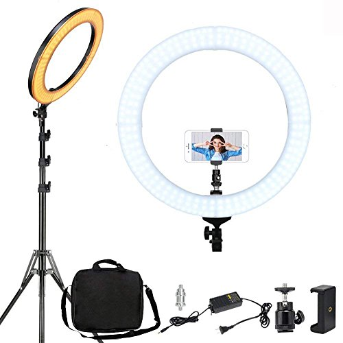 ZOMEi 46cm /18 Pouces LED Anneau Lumiere avec Trépied, 58w 2700-5500k Professionnels Lumiere Anneau pour Telephone Caméra Photo Vidéo Self-Portrait Youtube et Maquillage