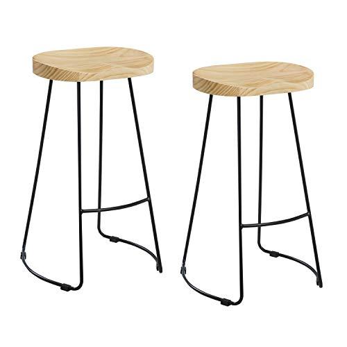 THC Living stylischer Industrie Design Barhocker - 2er Set - Holz Sitz - Barstuhl ohne Lehne Industrial Look - schwarz