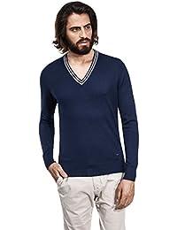 Vincenzo Boretti Jersey con cuello de pico bajo, cuello de contraste, ajuste entallado