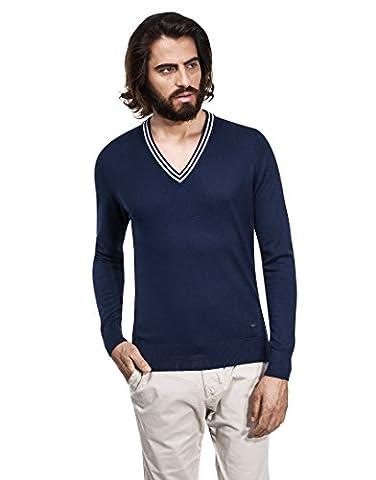 Vincenzo Boretti Herren Pullover mit tiefen V-Ausschnitt, Kontrastkragen, tailliert / slim fit,dunkelblau,XL