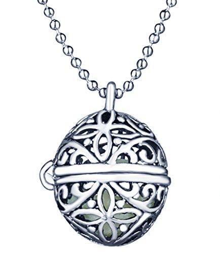 Yumilok Hohle Kugel Ball Nachtleuchtend Anhänger Halskette Legierung Medaillon Amulett Kettenänhanger für Damen Kinder, Blaues Licht (Licht Ball-womens)