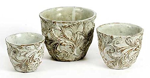 Blumentopf Übertopf Keramik grau antik shabby Vintage 3 Größen zur AuswahlØ 14 cm • Ø 16 cm • Ø 21 cm, shabby-chic Blumentöpfe Übertöpfe (Größe Ø 16 cm • 13 cm hoch)