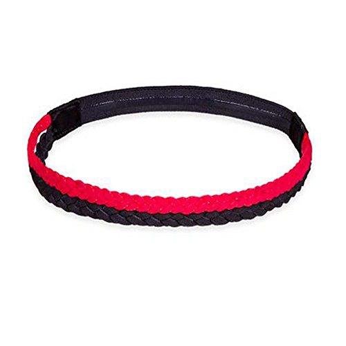Black Temptation Femmes/Hommes Yoga Headband Non-Slip Hair Band Headwear Sport_Rouge et Noir