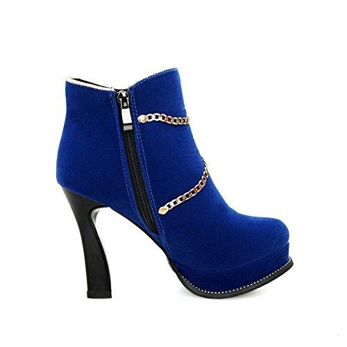 AllhqFashion Damen Hoher Absatz Niedrig-Spitze Rein Reißverschluss Stiefel mit Kette, Blau, 38