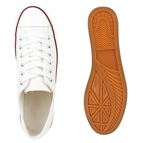 Sportliche Herren Sneakers Low Flache Turnschuhe Stoffschuh Ösen Weiss Rot