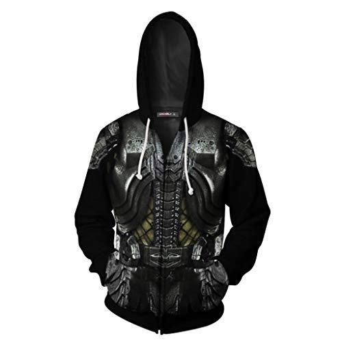 SDKHIN Alien vs. Iron Warrior Sweatshirt Kapuzenpullover mit 3D-Muster,Black-S