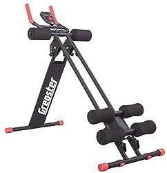 Gregster AB Plank Bauchtrainer mit Trainingscomputer, schwarz, 4-facher Schwierigkeitsgrad, zusammenklappbar, EN ISO 20957 geprüft