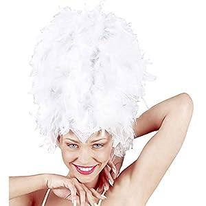 WIDMANN wdm4723W?Disfraz para adultos tocado de plumas con lentejuelas, color blanco, talla única