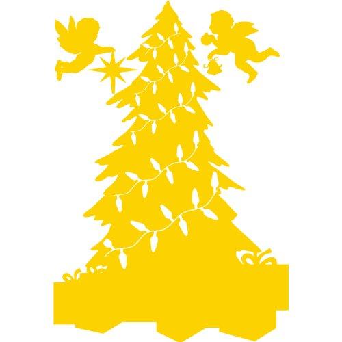 Tamaño 60 cm x 88 cm color amarillo árbol de Navidad, de Navidad, Windows y adhesivo decorativo para pared, diseño de pared Windows, niños juego de pegatinas decorativas, adhesivo, de Navidad, cajas de regalo, diseño de ángel, ThatVinylPlace