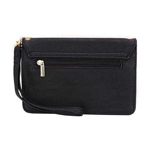 Conze da donna portafoglio tutto borsa con spallacci per Smart Phone/Cartelli per WIKO HIGHWAY PURE 4G/Star 4G Grigio grigio nero