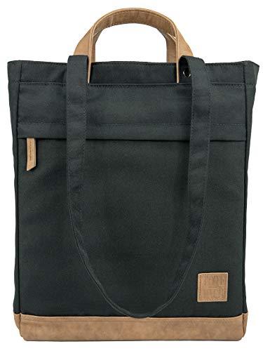 UNR!VALED TOTEPACK Daypack Rucksack Tasche 2 in 1 SCHWARZ Handtasche Damen Shopper Umhängetasche Tote-Bag Wickelrucksack | A4 Büro Uni Schule Office