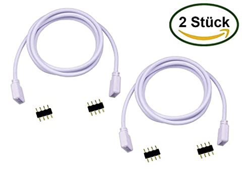 LitaElek 1m 100cm RGB LED câble d'extension LED bandes de sortie connecteur de connecteur d'extension de bande pour RGB 5050 3528 LED Light Strip (2 pack)