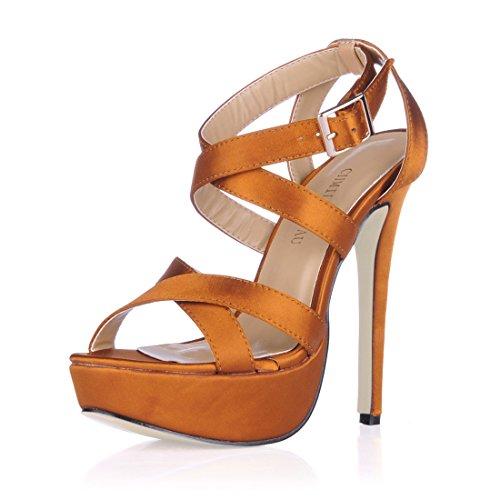 CHMILE CHAU-Scarpe da Donna-Sandali Tacco Alto a Spillo-Sexy-Moda-Partito-da Sera-con Cinturino alla Caviglia-Piattaforma 3cm