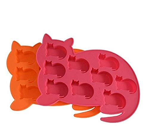 FKB@ED Eiswürfelform Und -Schale Aus Silikon In Katzenform 2-Teiliges Set Platin-Silikon-Backform Süße Kätzchen Thema Schimmel Handgemachtes Weihnachtsgeschenk Silikonform Mit 9 Sch -