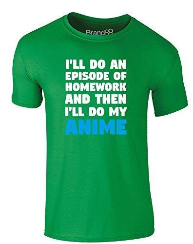 Brand88 - Anime Over Homework, Erwachsene Gedrucktes T-Shirt Grün/Weiß/Hellblau