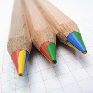3 x LYRA 4-COLOR GIANT SUPER JUMBO COLOURING PENCILS NATURAL WOOD FINISH by Lyra