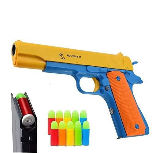 ABREOME M1911 Pistole Spielzeug mit Spielzeugpistole Weiche Kugeln und Spielzeug Gun Auswurfmagazin,für Training oder Multiplayer Battle Schießen Spiel(Orange)