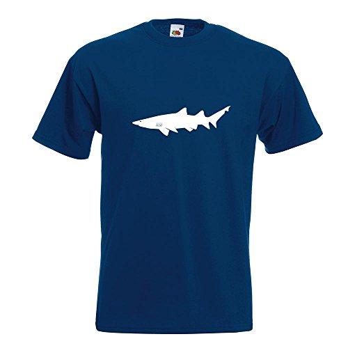 KIWISTAR - Hai Raubfisch Profil T-Shirt in 15 verschiedenen Farben - Herren Funshirt bedruckt Design Sprüche Spruch Motive Oberteil Baumwolle Print Größe S M L XL XXL Navy