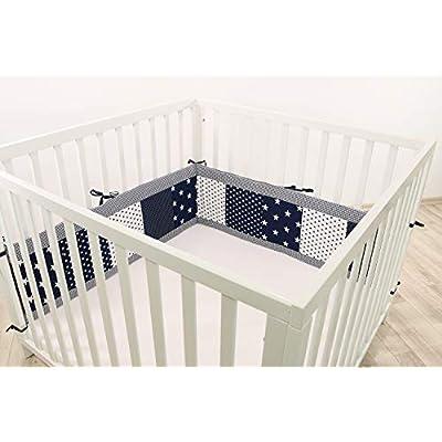 ULLENBOOM® Bumper- Blue Stars (200x 30cm Baby playpen Bumper, 100x 100cm playpen Bumper Pads for The Head Area)