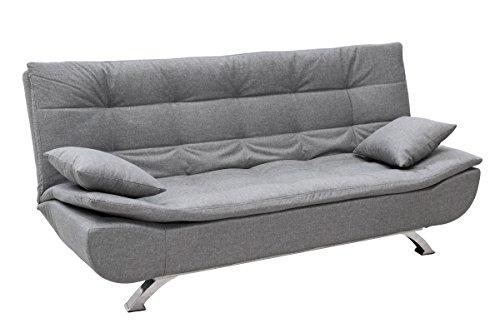 Eglemtek divano letto clic clac 3 posti in tessuto con cuscini, divano letto confortevole e lineare per salotto soggiorno camera da letto ufficio casa, 190 x 120 x 40 cm (colore grigio)
